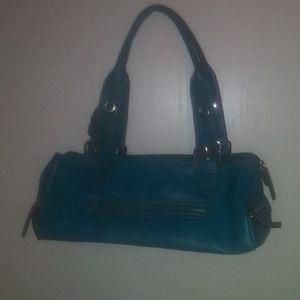 Teal leather hand bag